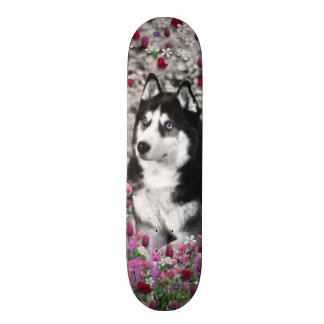 Irie the Siberian Husky in Flowers 19.7 Cm Skateboard Deck