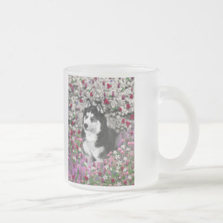 Irie the Siberian Husky in Flowers Frosted Glass Coffee Mug