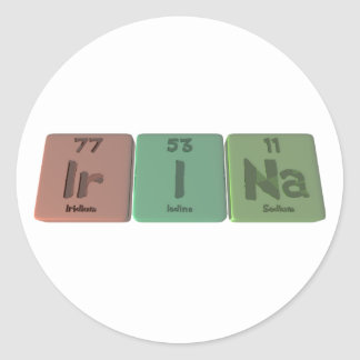 Irina  as Iridium Iodine Sodium Round Sticker