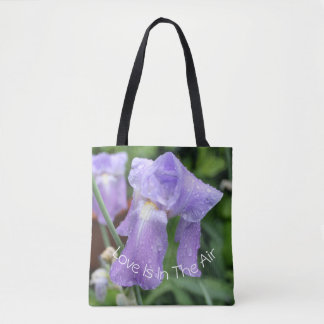 Iris after the rain. Text. Tote Bag