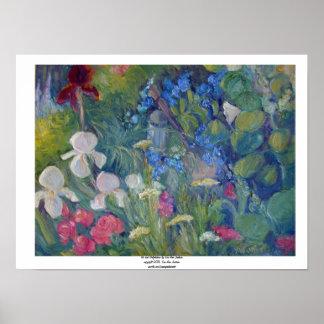 Iris and Delphinium Poster