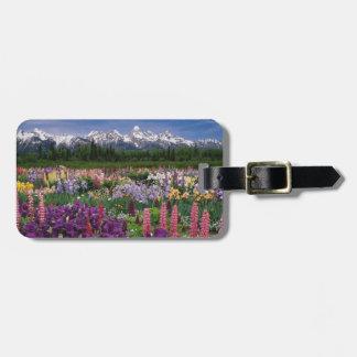 Iris and Lupine garden and Teton Range, Luggage Tag