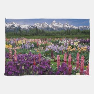 Iris and Lupine garden and Teton Range, Tea Towel