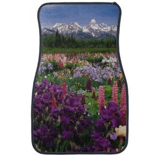 Iris and Lupine garden and Teton Range, Floor Mat