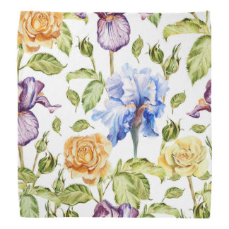 Iris and roses watercolor floral pattern bandana