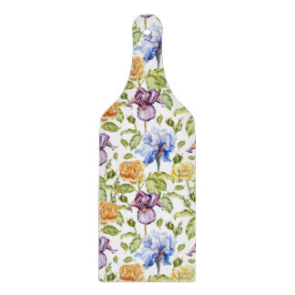 Iris and roses watercolor floral pattern cutting board