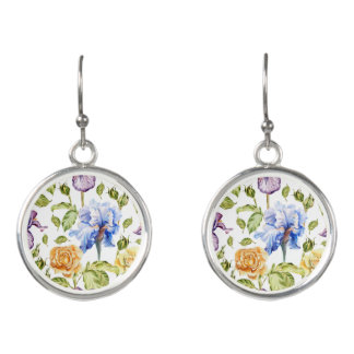 Iris and roses watercolor floral pattern earrings