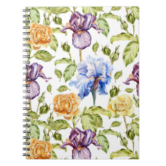 Iris and roses watercolor floral pattern notebook