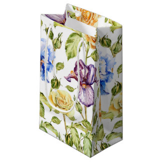 Iris and roses watercolor floral pattern small gift bag