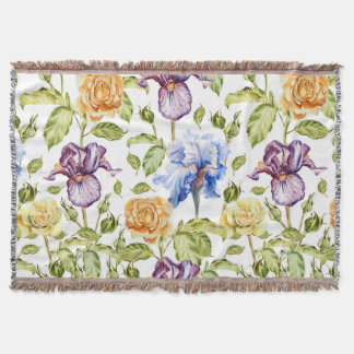 Iris and roses watercolor floral pattern throw blanket