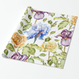 Iris and roses watercolor floral pattern wrapping paper