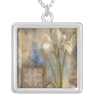 Iris and Tile Silver Plated Necklace