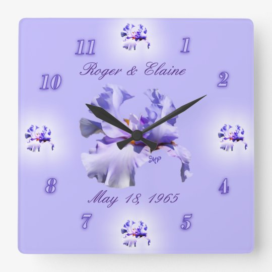 Iris Anniversary Clock- customise & personalise Square Wall