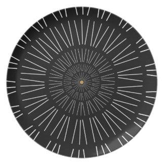 Iris Black and White Melamine Plate