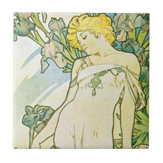 Iris Blue Floral Goddess Tile