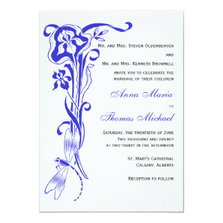 Iris & Dragonfly Royal Blue Wedding Invitation