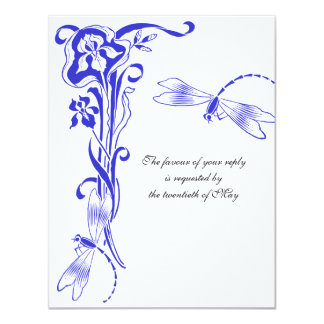 Iris & Dragonfly Royal Blue Wedding Reply Cards