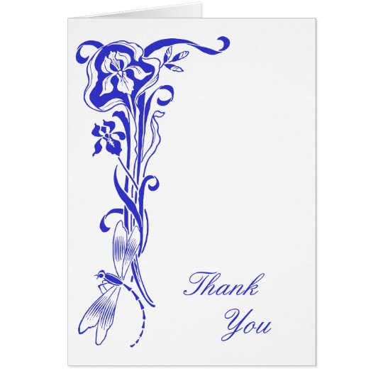 Iris & Dragonfly Thank You Royal Blue Note