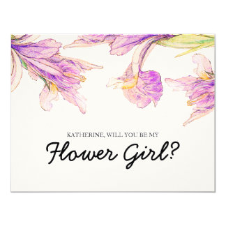 "Iris Floral | ""will you be my flower girl"" Card"
