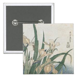 Iris Flowers and Grasshopper, c.1830-31 15 Cm Square Badge