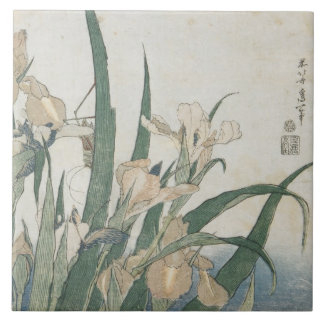 Iris Flowers and Grasshopper, c.1830-31 Large Square Tile