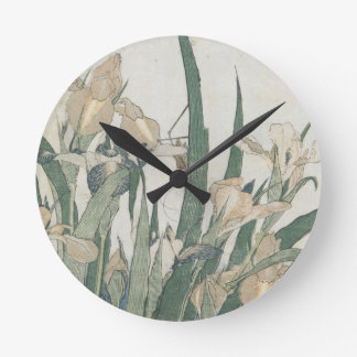 Iris Flowers and Grasshopper, c.1830-31 Round Clock