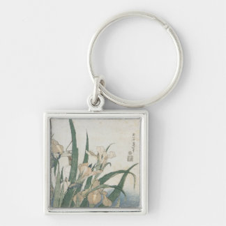 Iris Flowers and Grasshopper, c.1830-31 Silver-Colored Square Key Ring