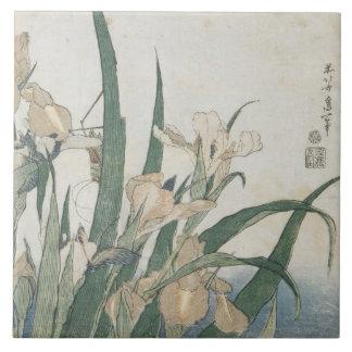 Iris Flowers and Grasshopper, c.1830-31 Tile