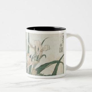 Iris Flowers and Grasshopper, c.1830-31 Two-Tone Coffee Mug
