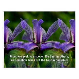 Iris Flowers Attitude Inspirational Quote Poster