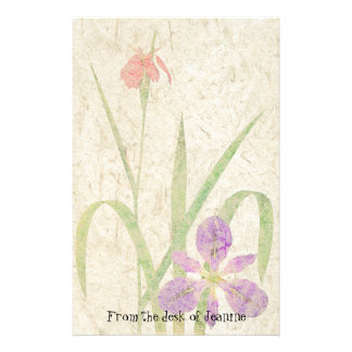 Iris Flowers Faux Handmade Paper Stationery
