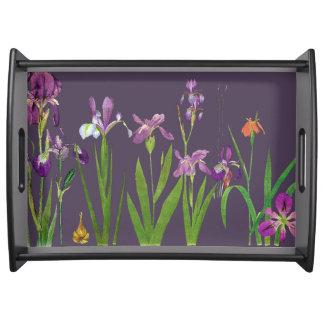Iris Flowers Serving Tray