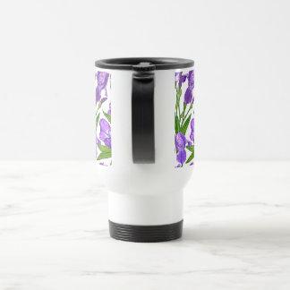 Iris flowers travel mug