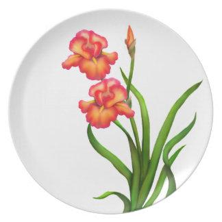 Iris Garden Flowers Deco Plate