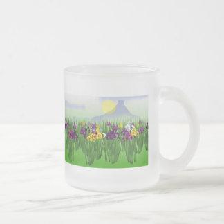 Iris Garden Frosted Glass Mug
