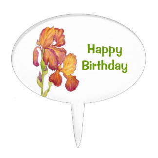 Iris Happy Birthday Cake Pick