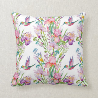 Iris hummingbird lavender white pink birds throw pillow