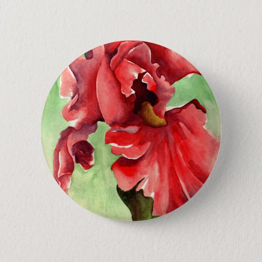 Iris in Watercolor - Withanf Fine Art 6 Cm Round Badge
