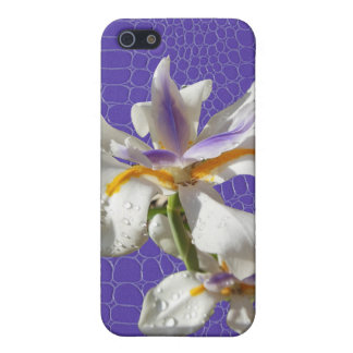 Iris on Purple Alligator Print Cover For iPhone 5