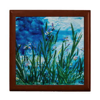 "Iris on the Water Edge 7.125"" Square w/6"" Tile Box Large Square Gift Box"