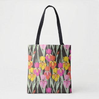Iris print floral tote bag
