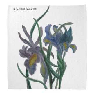 Iris printed on fabric bandana