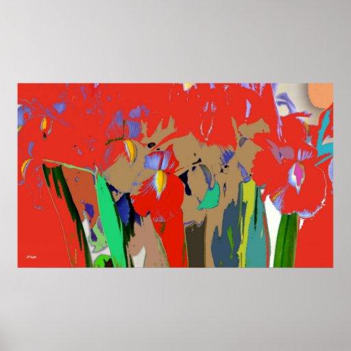 Iris Red Rush Abstract Poster Print