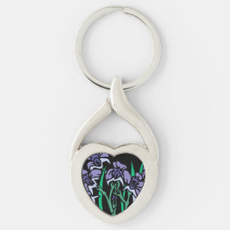 Iris Silver-Colored Twisted Heart Key Ring