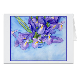 Iris Vase Blue Border Blank Greeting Card