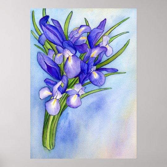 Iris Vase Watercolor Painting Art Poster Print