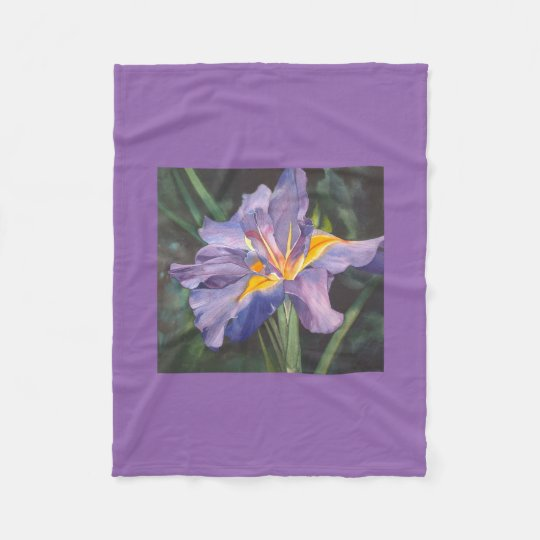 Iris watercolor fleece blanket