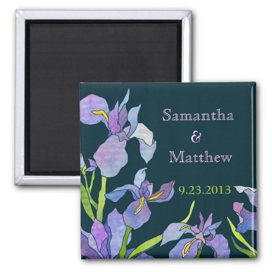 Iris Wedding Save the Date Square Magnet
