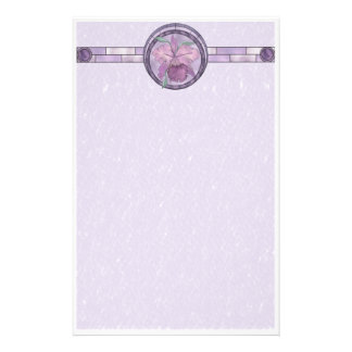 Iris With Stained-Glass Look Stationery