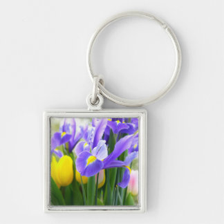 Irises And Tulips Spring Flowers Silver-Colored Square Key Ring